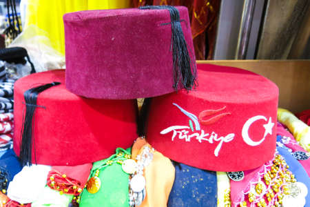 Classical Turkish hats on the Istanbul Grand Bazaar. Istambul, Turkey Stock Photo