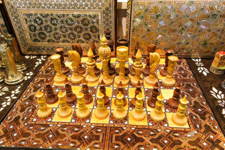 Beautiful chess set, made of wood, in on the Istanbul Grand Bazaar. Istambul, Turkey