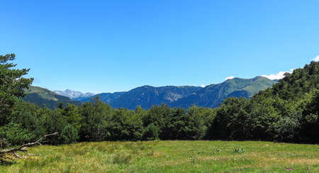 Panorama to Aran valley, mountainous border in Spain and France, in the Catalan Pyrenees, Spain