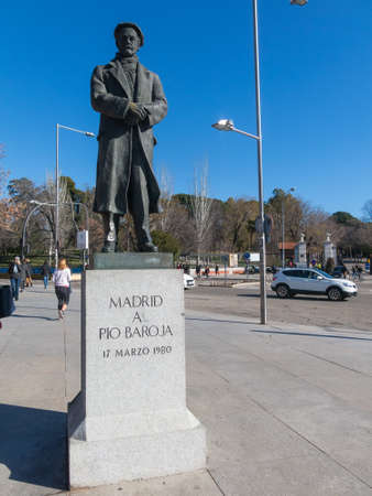 Madrid, Spain - January 27, 2018: Statue of the Basque writer Pio Baroja (1872-1956) at the entrance of the Retiro Park in Madrid, Spain