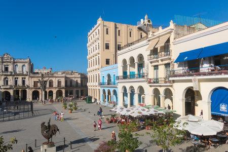 HAVANA, CUBA - JANUARY 16, 2017: The historic Old Square or Plaza Vieja in the colonial neighborhood of Old Havana. Havana. Cuba