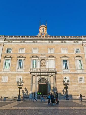 BARCELONA, SPAIN - SEPTEMBER 2, 2018: Generalitat Palace of Catalonia in Barcelona, Spain. The palace houses the offices of the Presidency of the Generalitat de Catalunya.