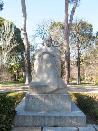 Statue of the writer Benito Perez Galdos (1843-1920)  the Retiro Park in Madrid, Spain. He was a Spanish realist novelist. Some authorities consider him second only to Cervantes in stature as a Spanish novelist.