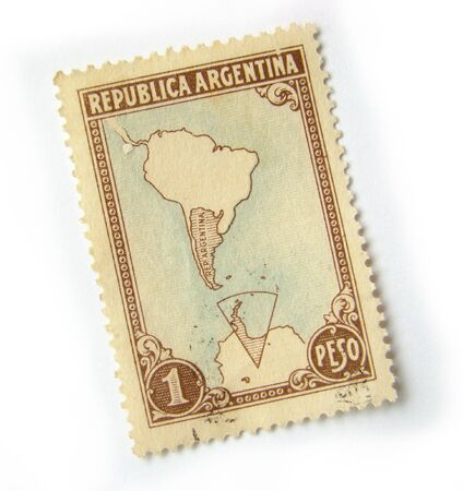 Old postage stamp from Argentina on white background.                 Stock Photo