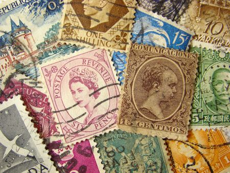 Old postage stamps from the entire world