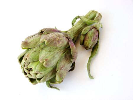 Isolated artichoke and his son on white background Stock Photo
