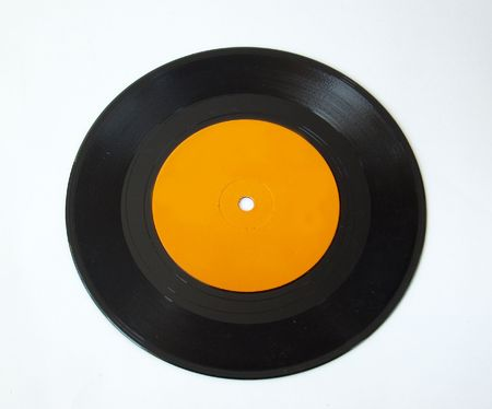 45 rpm record on white background photo