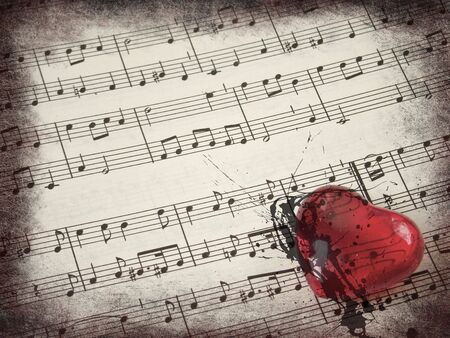Music score background and red heart with grunge borders