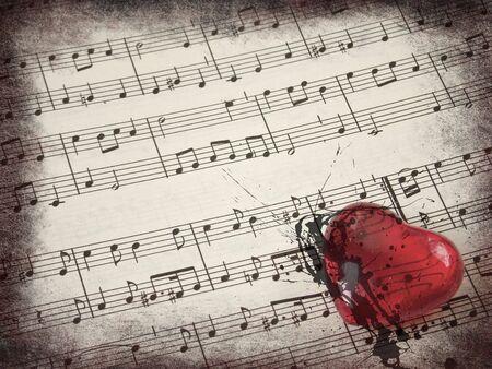 partition musique: Musique de fond et de c?ur rouge avec grunge fronti�res