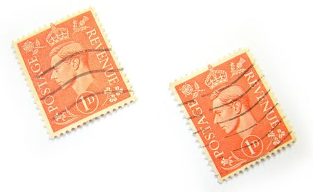 Great Britain postage stamps on white background.