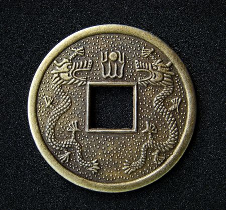 Close-up of chinese feng shui coin for good fortune and success. Stock Photo - 3583603