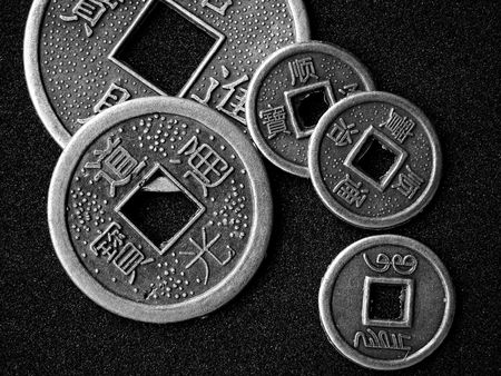 Chinese feng shui coins for good fortune and success in black and white. Stock Photo - 3583613