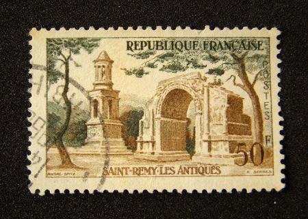 France postage stamp on black background.                         Stock Photo