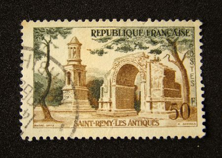 France postage stamp on black background.                         Stock Photo