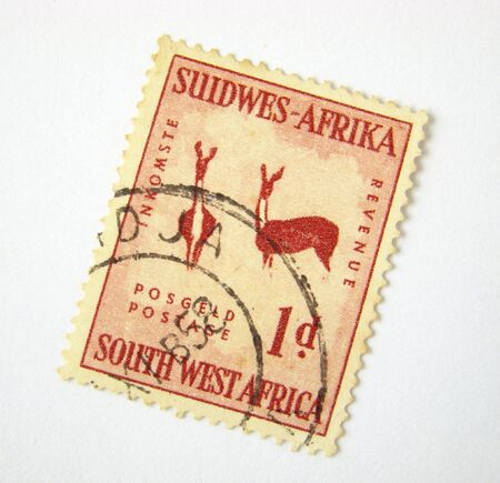 Old South West Africa postage stamp on white background