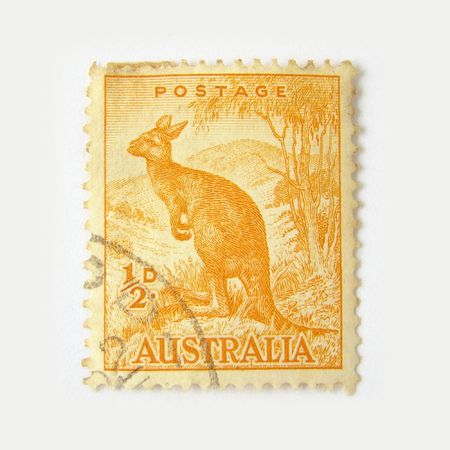 Australia postage stamp with kangaroo on white background  Stock Photo