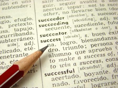 'succes' woord in het Engels-Spaans woordenboek met potlood