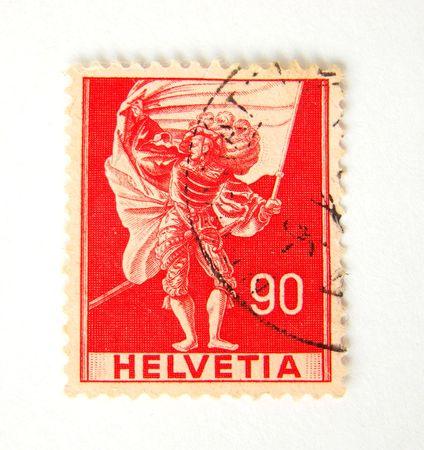 helvetia: Helvetia (switzerland) postage stamp on white background