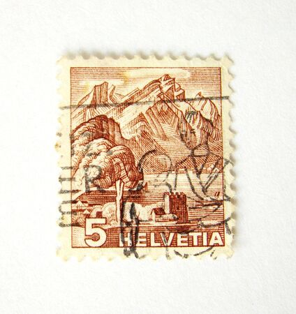 helvetia: Helvetia (switzerland) postage stamp on white background