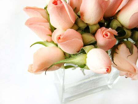 Little pink roses bouquet on white background photo