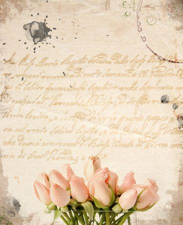 Little pink roses bouquet - vintage background Banque d'images