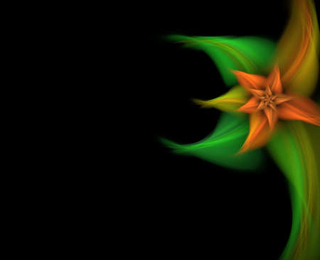 Fractal flower on black background Stock Photo