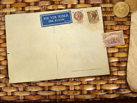 Vintage rattan background with blank postcard Stock Photo - 4816056