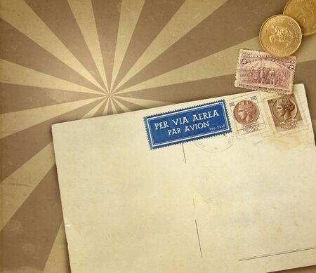 postcard: Retro background with blank postcard Stock Photo