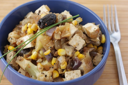 Vegetarian dish with tofu and vegetables photo