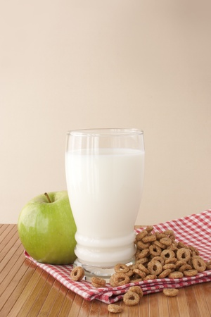 Healthy breakfast with a glass of milk
