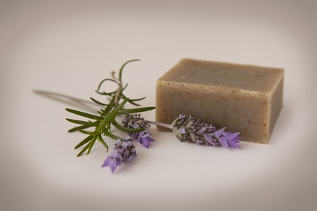 Homemade soap with lavender and rosemary - antique filter Stock Photo