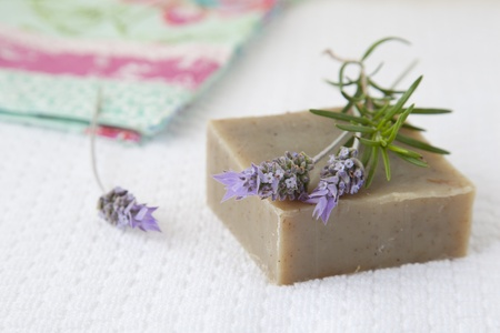 Homemade soap with lavender and rosemary Stock Photo