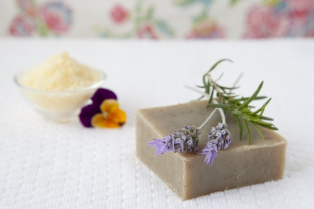 Homemade soap with herbs and bath salts