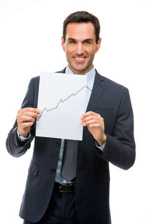 25 to 30 years old: Half length portrait of a businessman holding blank paper with growing chart