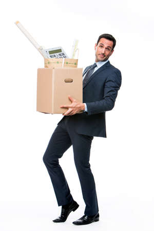 25 30 years old: Full length portrait of a businessman carrying a cardboard box