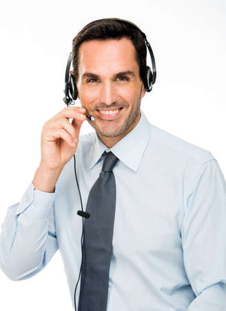 25 30 years old: Portrait of a smiling man with headset working as a call center operator