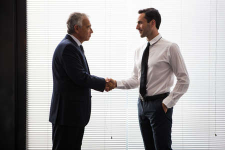50 to 55 years old: Half length portrait of two businessmen standing up and shaking hands