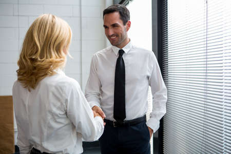 two and a half: Half length portrait of two businesspeople standing up, smiling and shaking hands