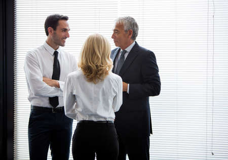 agreeing: Half length portrait of three businesspeople standing up and speaking