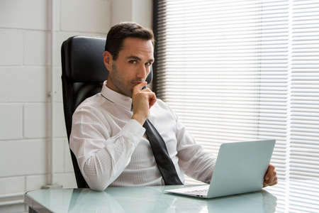 white work: Half length portrait of a thoughtful male businessman, looking at camera and working with a laptop computer