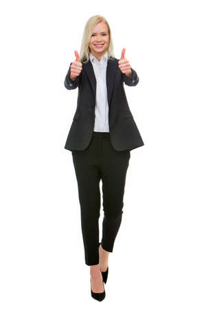 professionalism: smiling blonde businesswoman thumbs up with both hands
