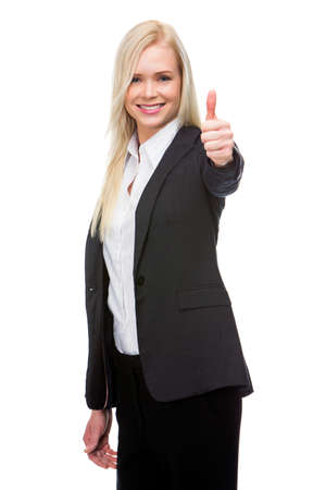 ok sign: smiling blonde businesswoman thumb up with one hand