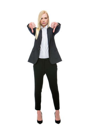 25 to 30 years old: blonde businesswoman thumbs-down Stock Photo
