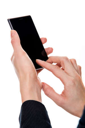 womans hands: womans hands with phone Stock Photo