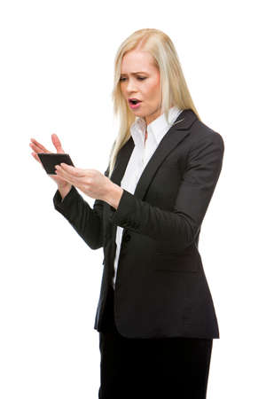 angry blonde: angry blonde businesswoman shouting at mobile phone