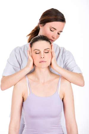 doctor evaluation neck Banque d'images