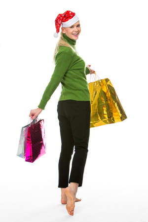 woman doing shopping for christmas Banque d'images