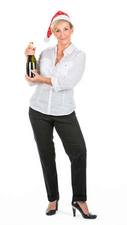 manager woman holding bottle of champagne at christmas