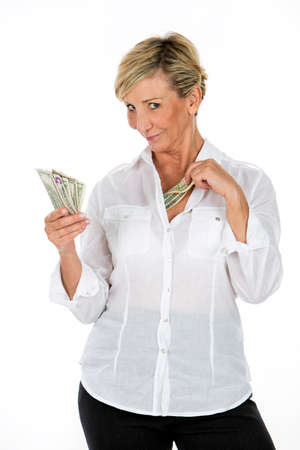 manager woman holding banknote Banque d'images