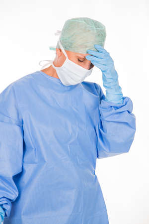 tired woman surgeon after a operation Banque d'images